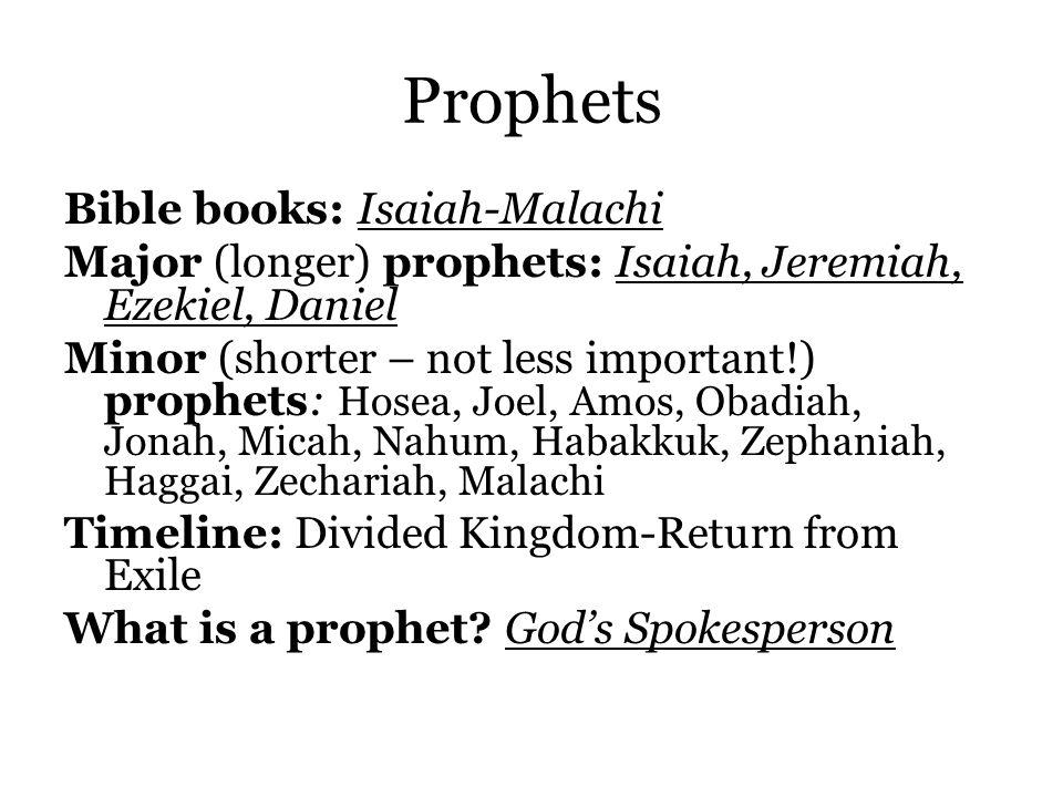 Prophets Bible books: Isaiah-Malachi Major (longer) prophets: Isaiah, Jeremiah, Ezekiel, Daniel Minor (shorter – not less important!) prophets: Hosea, Joel, Amos, Obadiah, Jonah, Micah, Nahum, Habakkuk, Zephaniah, Haggai, Zechariah, Malachi Timeline: Divided Kingdom-Return from Exile What is a prophet.