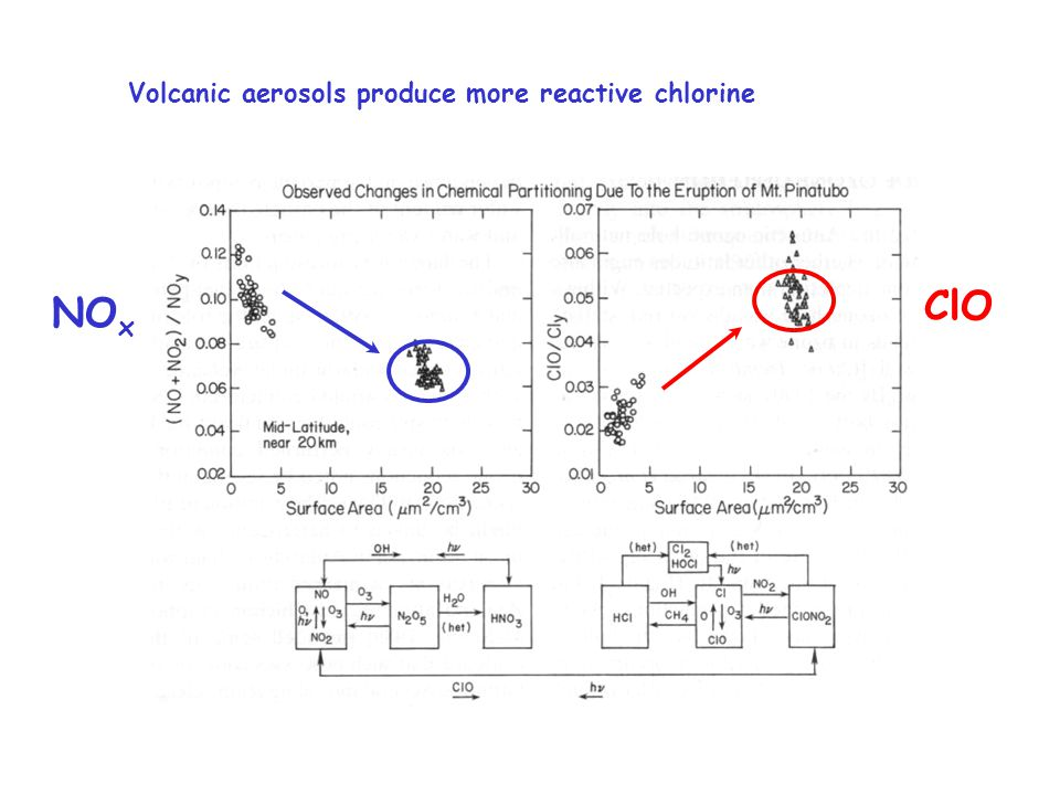 Volcanic aerosols produce more reactive chlorine  ClO NO x