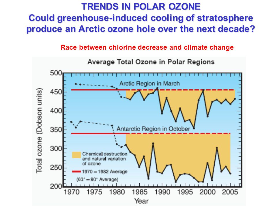 TRENDS IN POLAR OZONE Could greenhouse-induced cooling of stratosphere produce an Arctic ozone hole over the next decade.