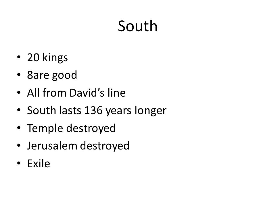 During the time of the Divided Kingdom Most of the Prophets lived and taught North/IsraelSouth/Judah ElijahIsaiah ElishaJeremiah AmosJoel Obadiah Micah Zephaniah Nahum Habakkuk