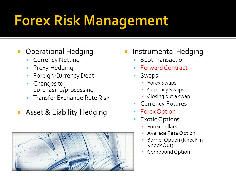  Operational Hedging  Currency Netting  Proxy Hedging  Foreign Currency Debt  Changes to purchasing/processing  Transfer Exchange Rate Risk  As