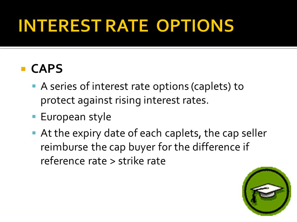  CAPS  A series of interest rate options (caplets) to protect against rising interest rates.  European style  At the expiry date of each caplets,