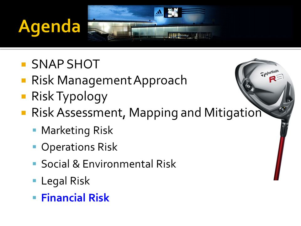  SNAP SHOT  Risk Management Approach  Risk Typology  Risk Assessment, Mapping and Mitigation  Marketing Risk  Operations Risk  Social & Environmental Risk  Legal Risk  Financial Risk
