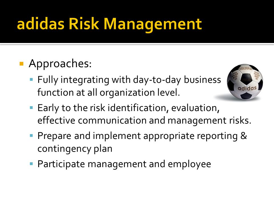 RISKS Market Risk Credit Risk Liquidity Risk Operational Risk Legal & Regulatory Risk Business Risk Strategic Risk Reputation Risk adidas' Risks Financial Risk