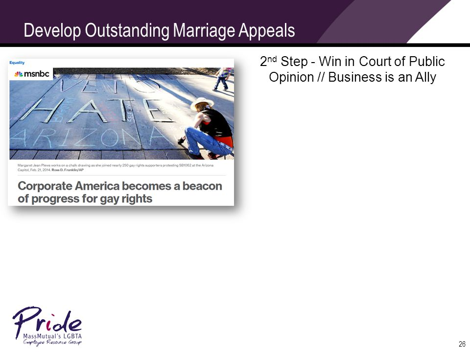 26 Develop Outstanding Marriage Appeals 2 nd Step - Win in Court of Public Opinion // Business is an Ally