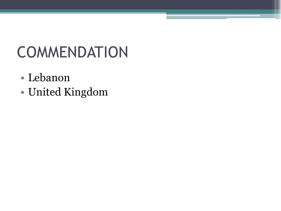 COMMENDATION Lebanon United Kingdom
