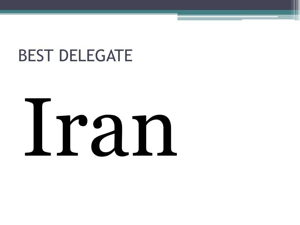 BEST DELEGATE Iran