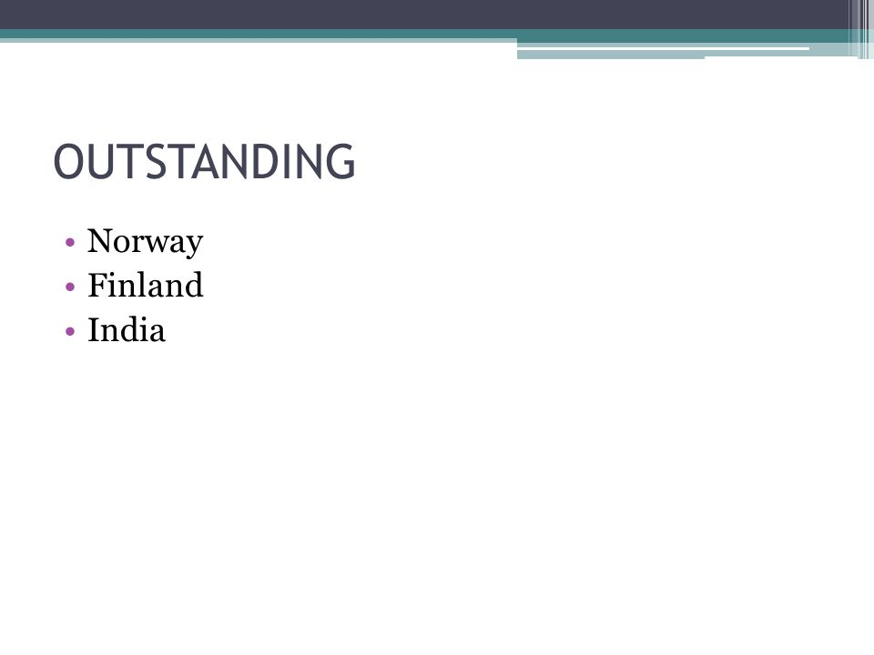 OUTSTANDING Norway Finland India