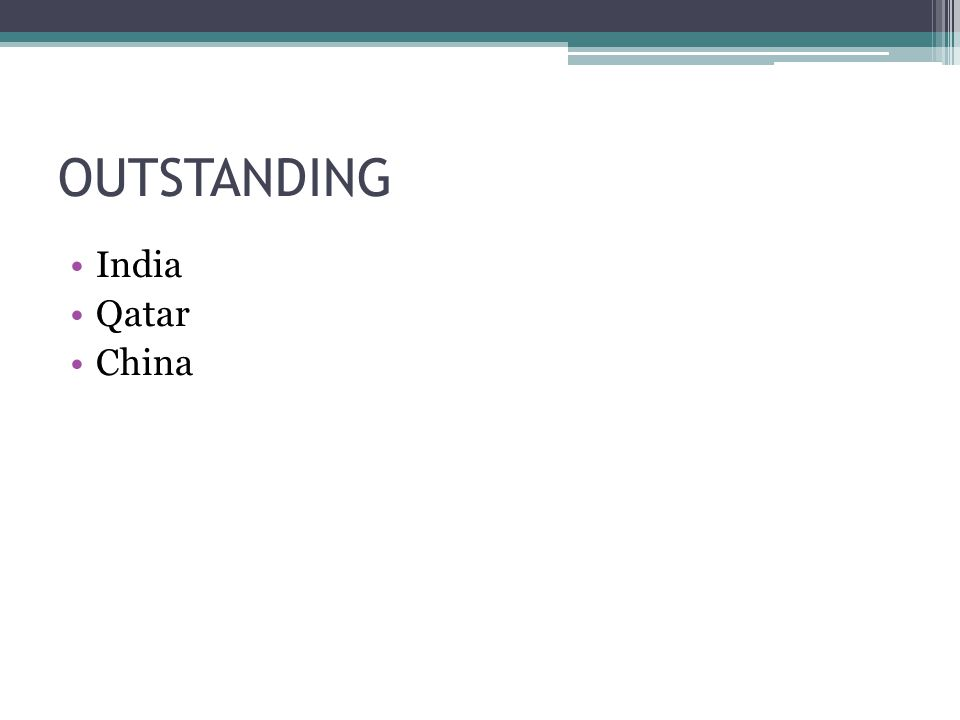 OUTSTANDING India Qatar China