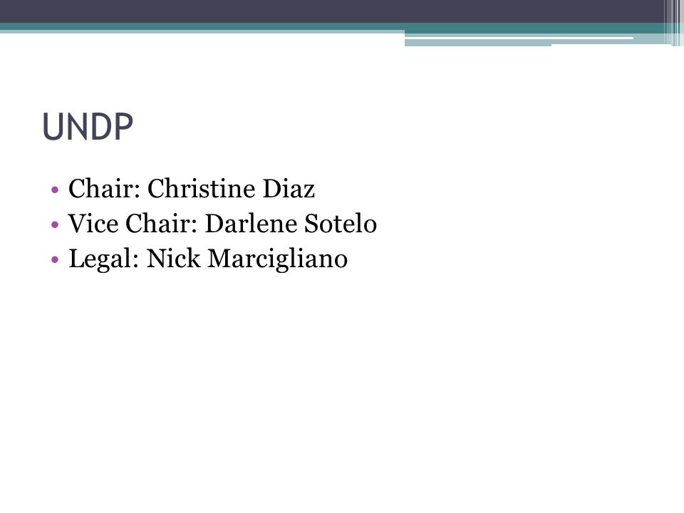 UNDP Chair: Christine Diaz Vice Chair: Darlene Sotelo Legal: Nick Marcigliano
