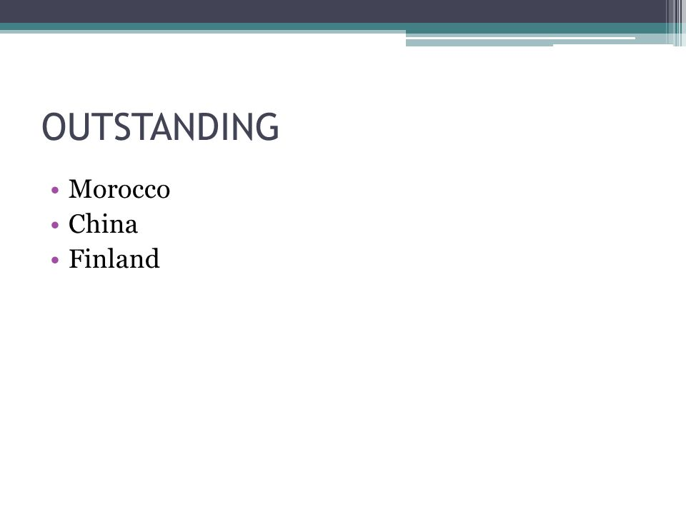 OUTSTANDING Morocco China Finland