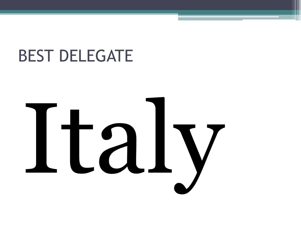 BEST DELEGATE Italy
