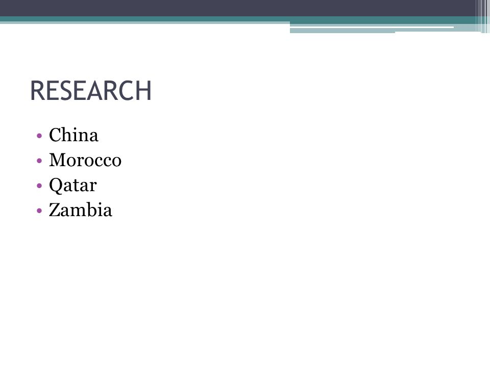 RESEARCH China Morocco Qatar Zambia