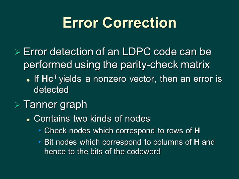 Error Correction  Error detection of an LDPC code can be performed using the parity-check matrix If Hc T yields a nonzero vector, then an error is de