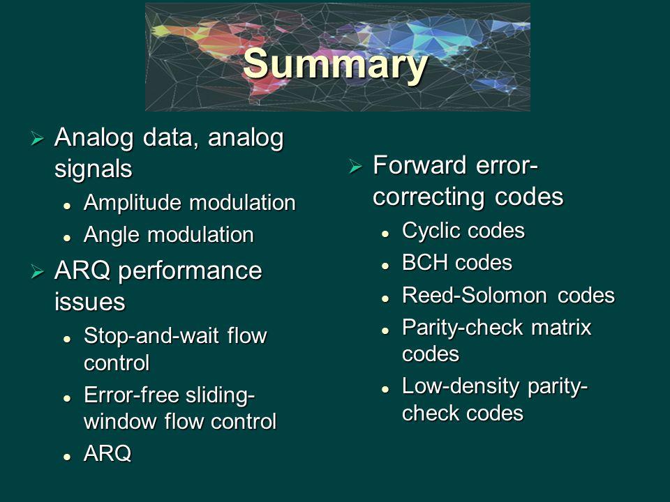 Summary  Analog data, analog signals Amplitude modulation Amplitude modulation Angle modulation Angle modulation  ARQ performance issues Stop-and-wa