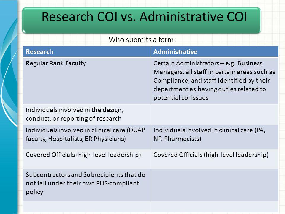 Research COI vs.