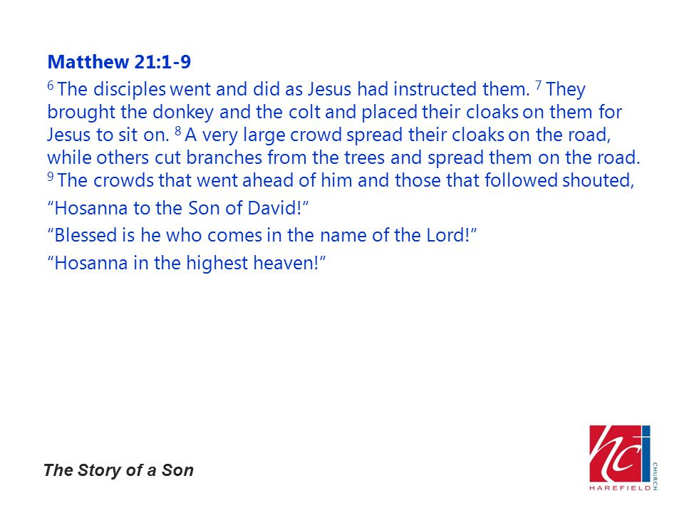 The Story of a Son Matthew 21:1-9 6 The disciples went and did as Jesus had instructed them.