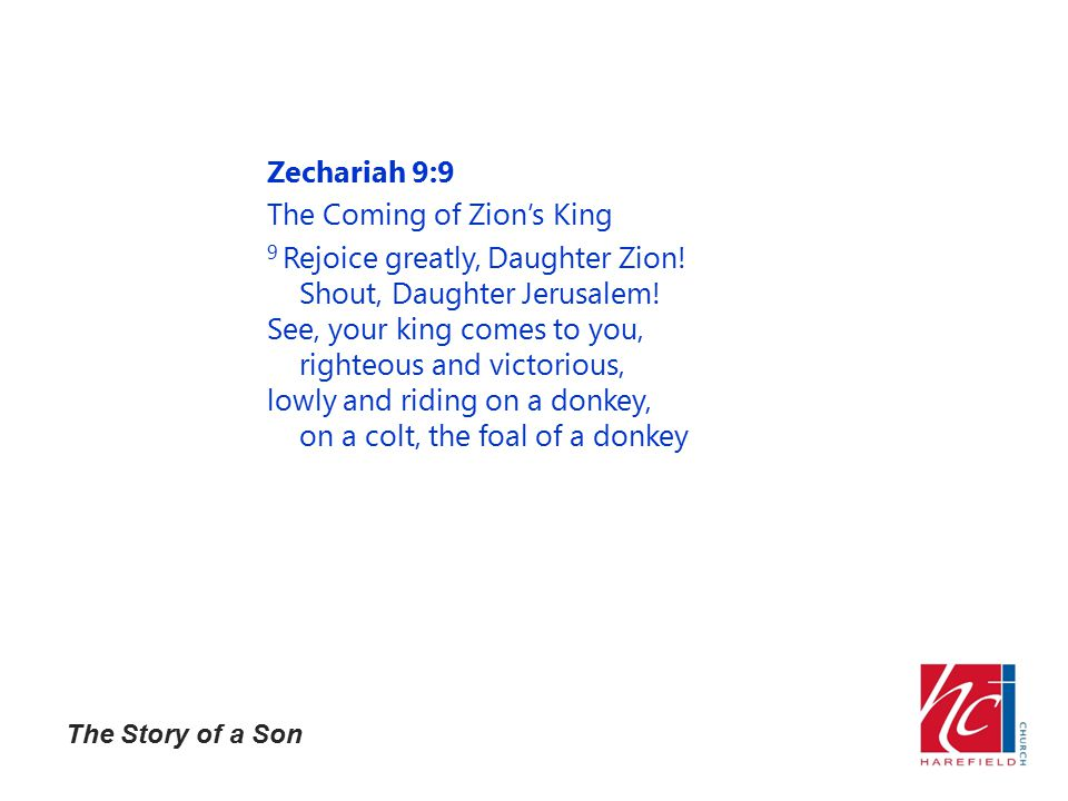 The Story of a Son Zechariah 9:9 The Coming of Zion's King 9 Rejoice greatly, Daughter Zion.
