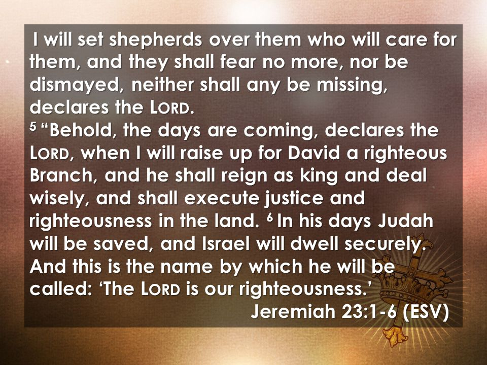I will set shepherds over them who will care for them, and they shall fear no more, nor be dismayed, neither shall any be missing, declares the L ORD.