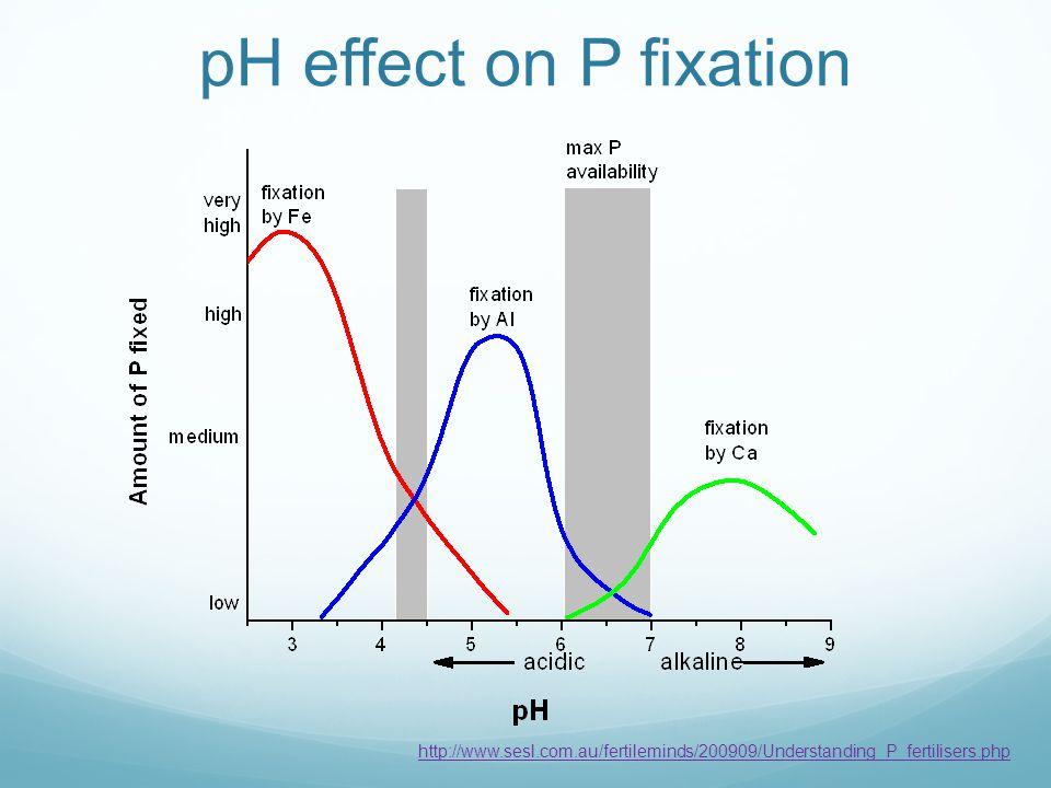 pH effect on P fixation http://www.sesl.com.au/fertileminds/200909/Understanding_P_fertilisers.php