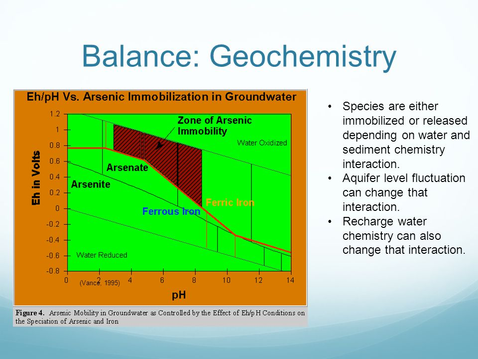 Balance: Geochemistry (Vance, 1995) Species are either immobilized or released depending on water and sediment chemistry interaction.