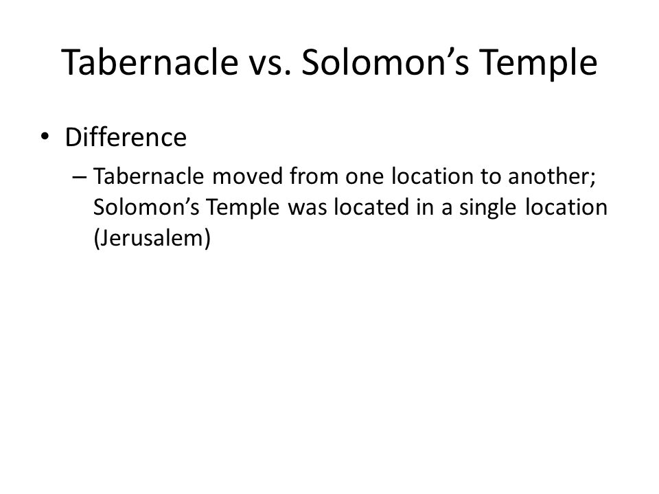 Tabernacle vs.