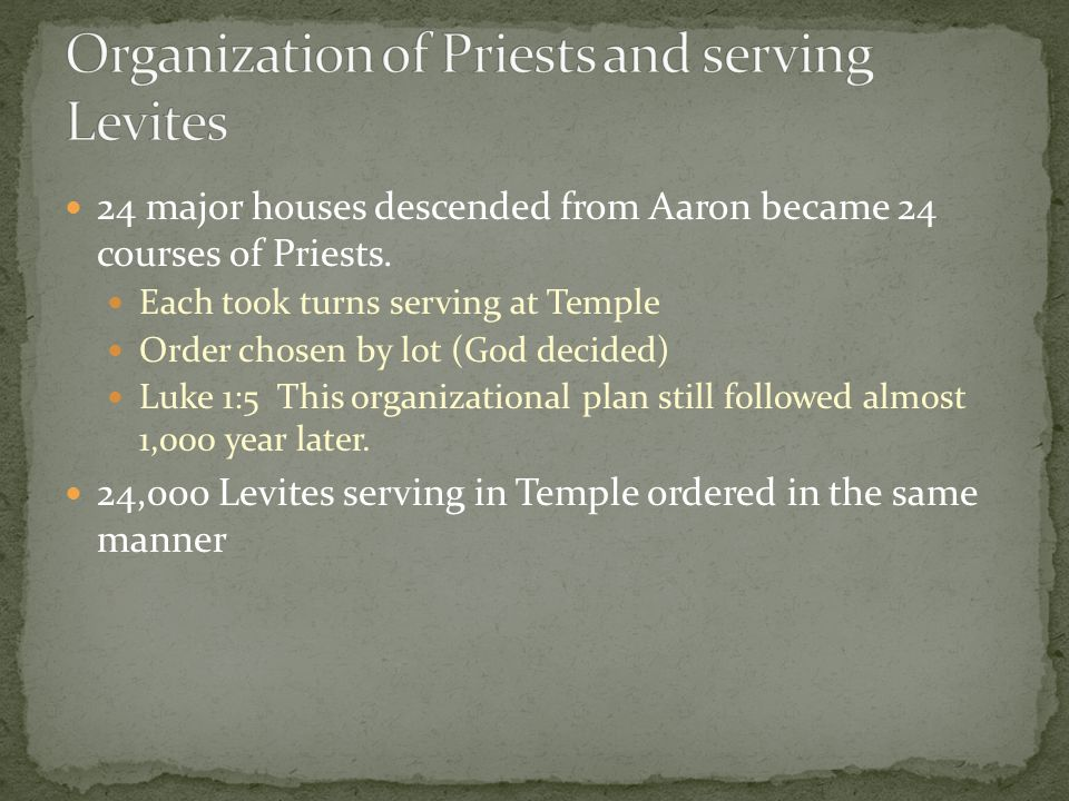 24 major houses descended from Aaron became 24 courses of Priests.