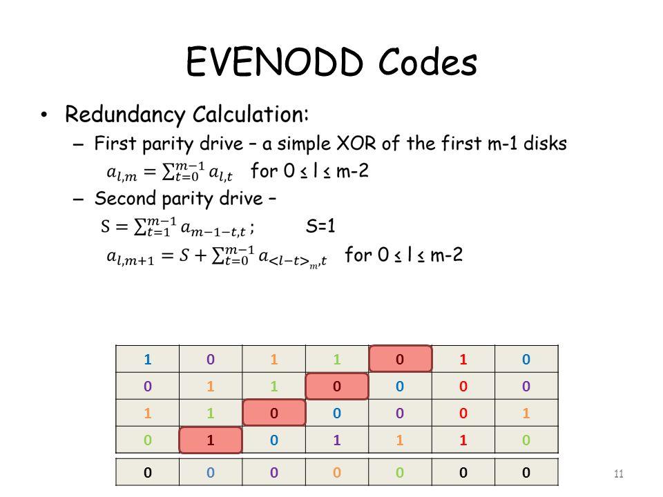 EVENODD Codes 11 01101 00110 00011 11010 0101101 0000110 1000011 0111010 0000000