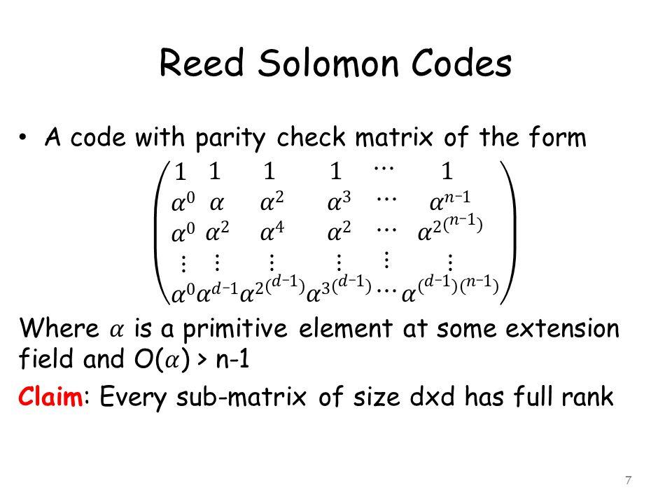 Reed Solomon Codes 7