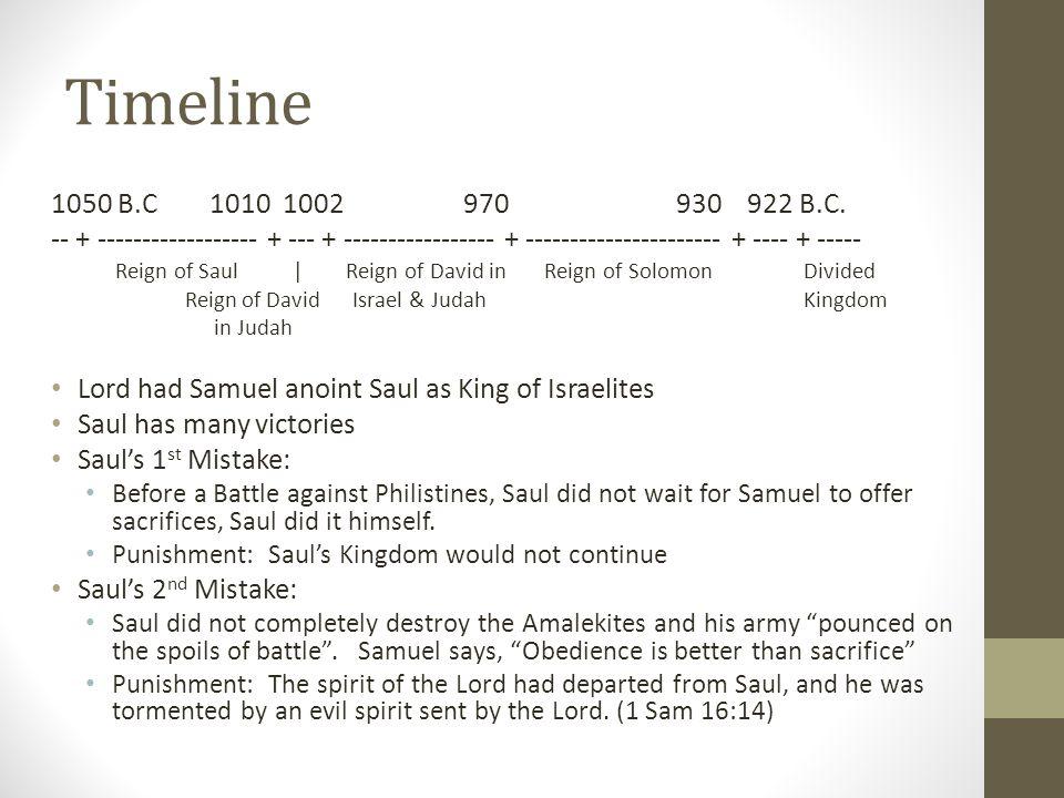 Timeline 1050 B.C 1010 1002970930 922 B.C.