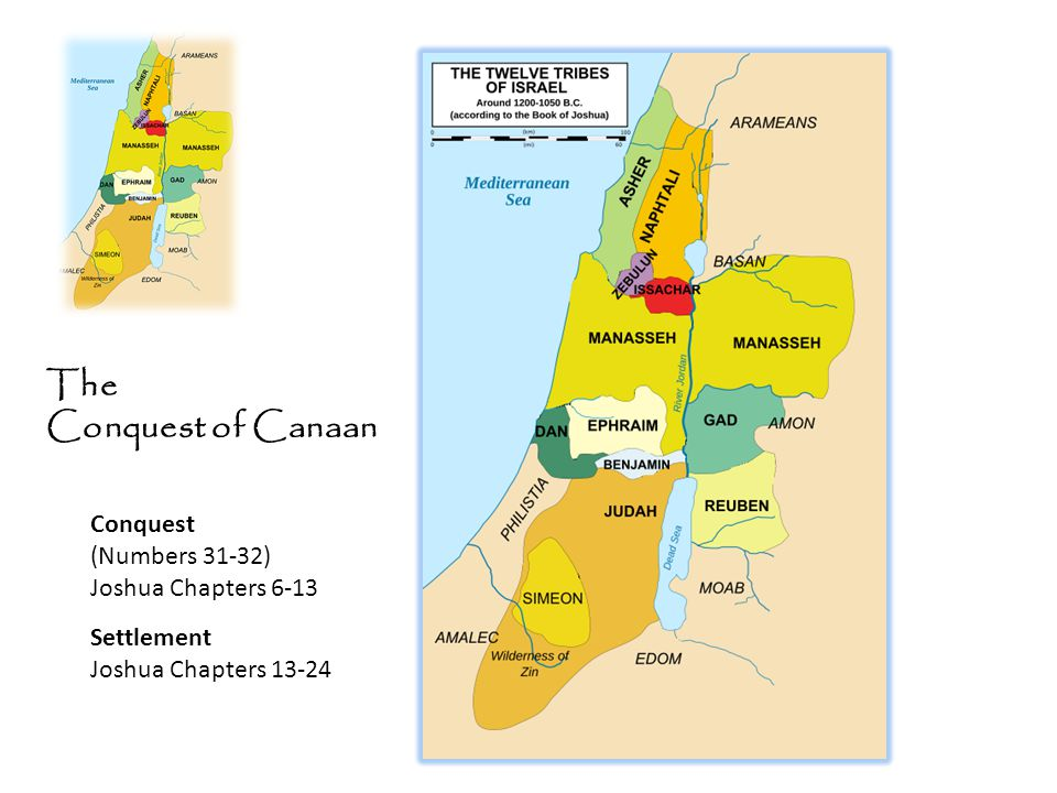 The Conquest of Canaan Conquest (Numbers 31-32) Joshua Chapters 6-13 Settlement Joshua Chapters 13-24