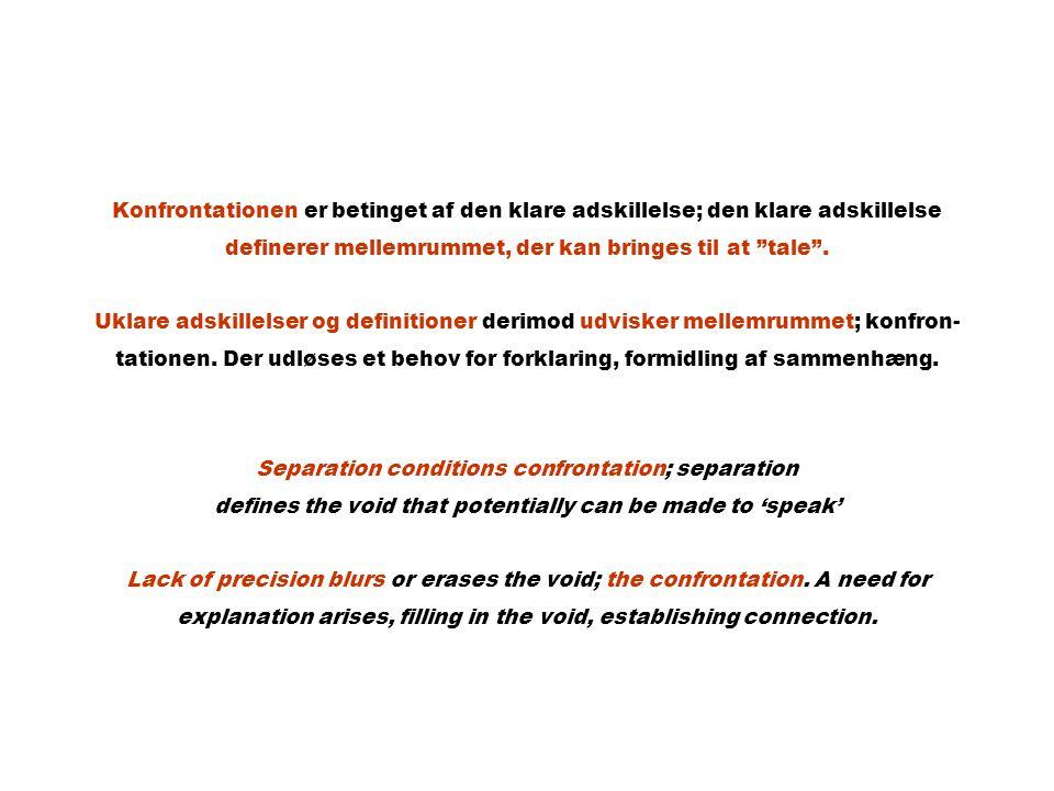Konfrontationen er betinget af den klare adskillelse; den klare adskillelse definerer mellemrummet, der kan bringes til at tale .