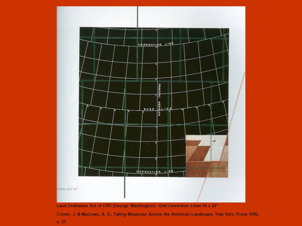 Land Ordinance Act of 1785 (George Washington): Grid Correction Lines 14 x 20 Corner, J.