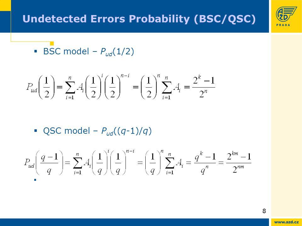 8 Undetected Errors Probability (BSC/QSC)  BSC model – P ud (1/2)  QSC model – P ud ((q-1)/q) 