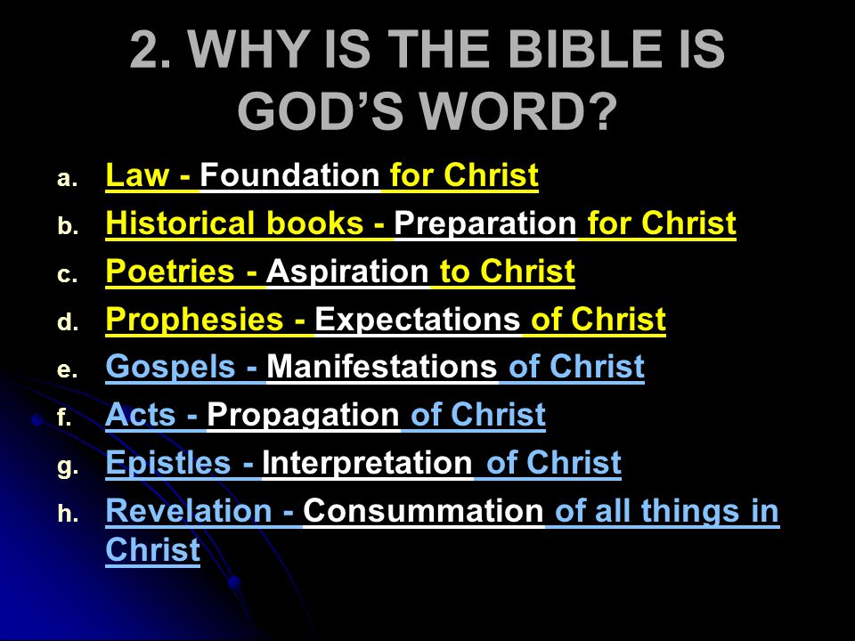 2.WHY IS THE BIBLE IS GOD'S WORD. a. a. Its Uniqueness in Continuity and Preservation i.