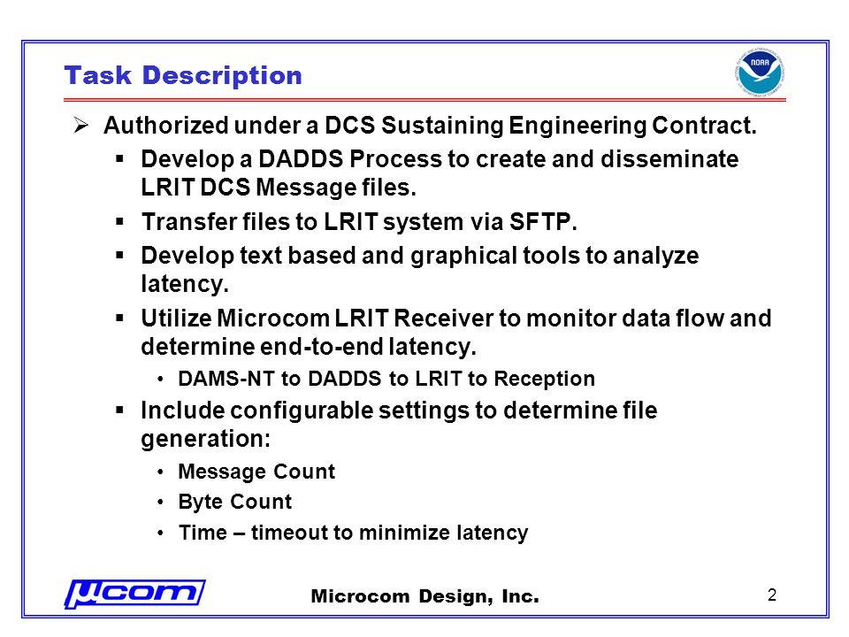 Microcom Design, Inc. 2 Task Description  Authorized under a DCS Sustaining Engineering Contract.