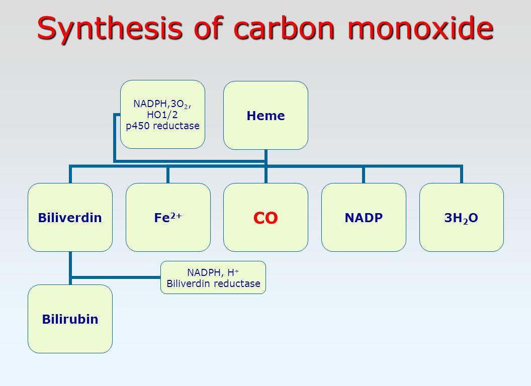 Synthesis of carbon monoxide Heme Biliverdin Bilirubin NADPH, H + Biliverdin reductase Fe 2+ CONADP3H2O NADPH,3O2, HO1/2 p450 reductase