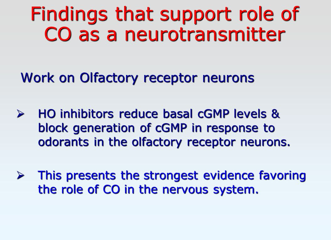 Findings that support role of CO as a neurotransmitter Work on Olfactory receptor neurons Work on Olfactory receptor neurons  HO inhibitors reduce basal cGMP levels & block generation of cGMP in response to odorants in the olfactory receptor neurons.