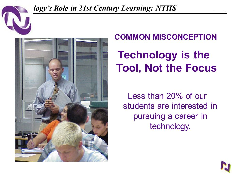 12 108319_Macros Technology's Role in 21st Century Learning: NTHS COMMON MISCONCEPTION Technology is the Tool, Not the Focus Less than 20% of our students are interested in pursuing a career in technology.
