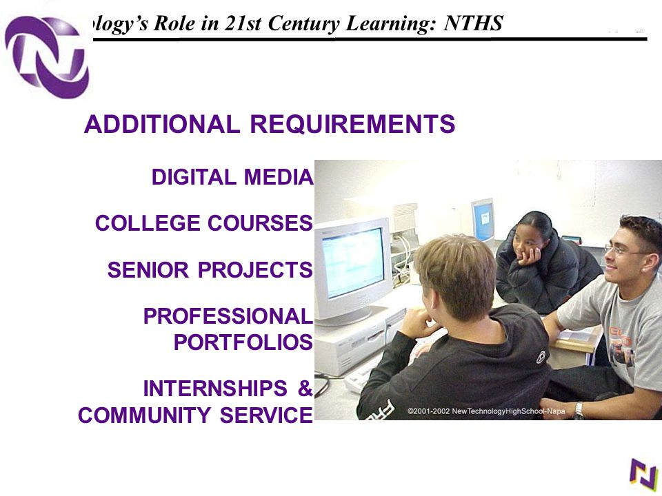 14 108319_Macros Technology's Role in 21st Century Learning: NTHS DIGITAL MEDIA COLLEGE COURSES SENIOR PROJECTS PROFESSIONAL PORTFOLIOS INTERNSHIPS & COMMUNITY SERVICE ADDITIONAL REQUIREMENTS