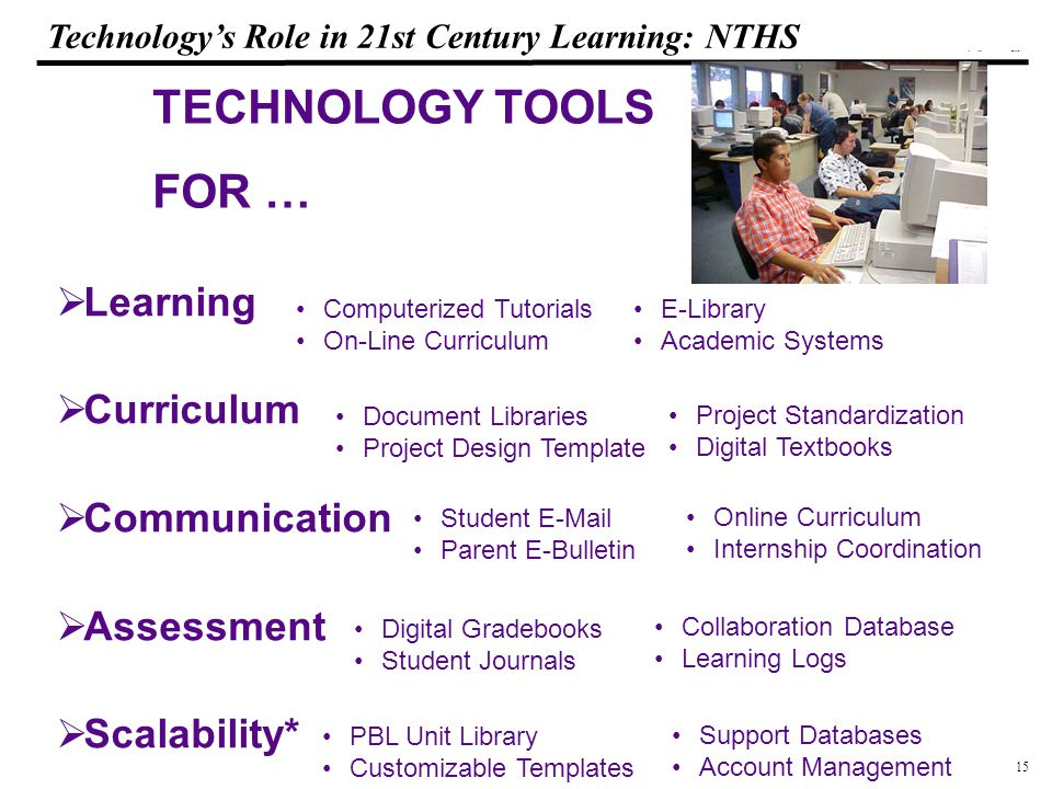 15 108319_Macros Technology's Role in 21st Century Learning: NTHS TECHNOLOGY TOOLS FOR …  Learning  Curriculum  Communication  Assessment  Scalability* Computerized Tutorials On-Line Curriculum E-Library Academic Systems Document Libraries Project Design Template Project Standardization Digital Textbooks Student E-Mail Parent E-Bulletin Online Curriculum Internship Coordination Digital Gradebooks Student Journals Collaboration Database Learning Logs PBL Unit Library Customizable Templates Support Databases Account Management
