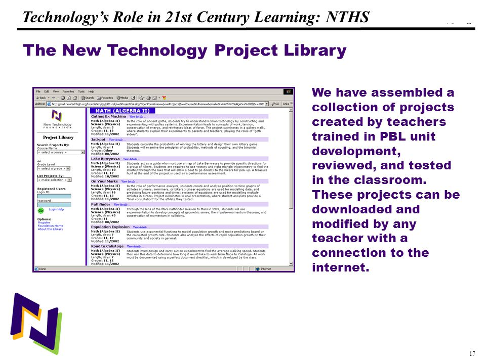 17 108319_Macros Technology's Role in 21st Century Learning: NTHS The New Technology Project Library We have assembled a collection of projects created by teachers trained in PBL unit development, reviewed, and tested in the classroom.