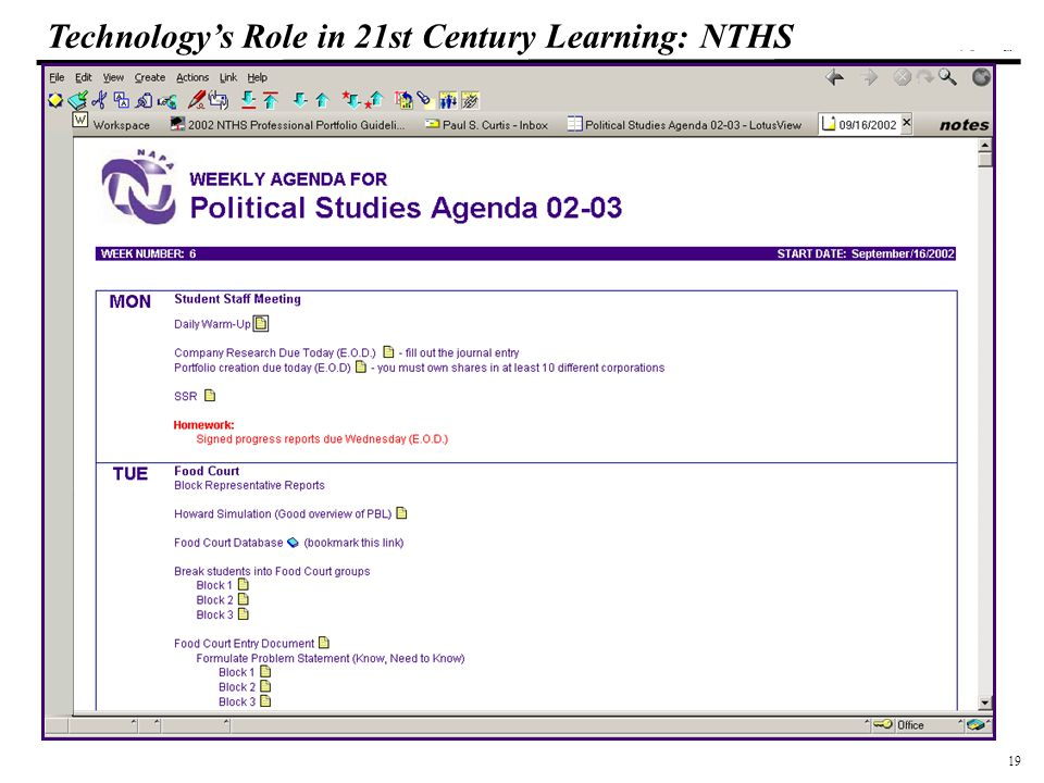 19 108319_Macros Technology's Role in 21st Century Learning: NTHS Teachers enter activities for each day including links to resources and homework assignments.