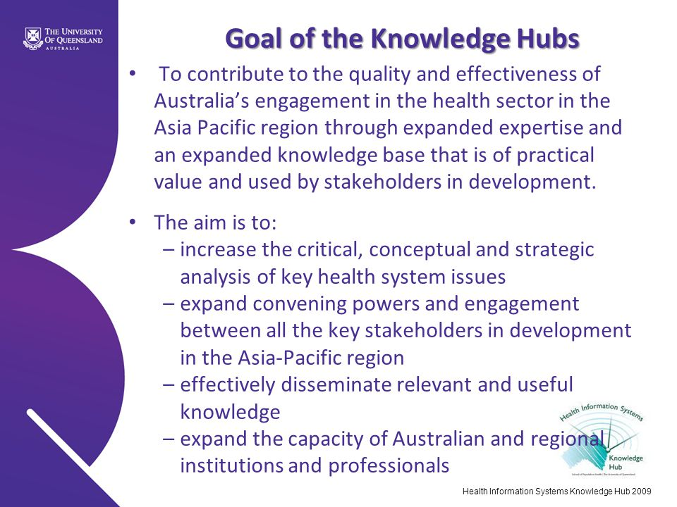 Goal of the Knowledge Hubs To contribute to the quality and effectiveness of Australia's engagement in the health sector in the Asia Pacific region th