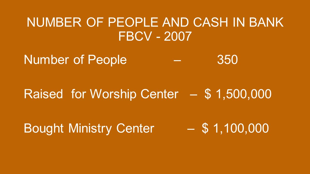 NUMBER OF PEOPLE AND CASH IN BANK FBCV - 2007 Number of People – 350 Raised for Worship Center – $ 1,500,000 Bought Ministry Center – $ 1,100,000