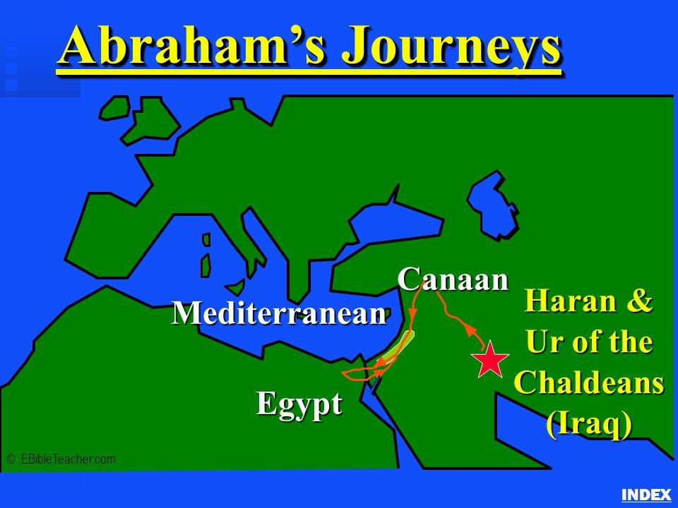 Abraham's Journey INDEX Abraham's Journeys © EBibleTeacher.com Mediterranean Egypt Haran & Ur of the Chaldeans (Iraq) Canaan