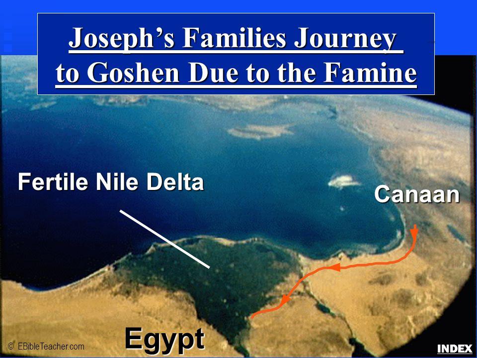 Joseph's Families Journey to Goshen Due to the Famine Fertile Nile Delta Egypt Canaan © EBibleTeacher.com Joseph's Family to Goshen INDEX