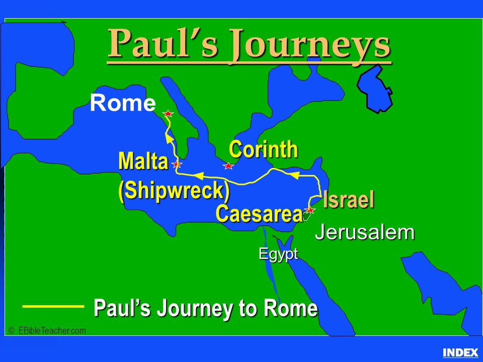 Paul- Journey to Rome Paul's Journey to Rome INDEX Click to add textClick to add text Israel Paul's Journey to Rome Jerusalem Egypt Paul's Journeys Ro