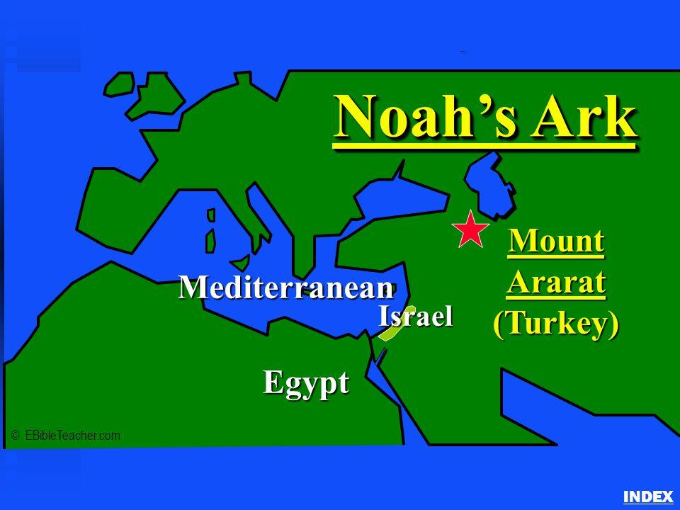 Noah's Ark 1 INDEX © EBibleTeacher.com Mediterranean Egypt MountArarat(Turkey) Noah's Ark Israel