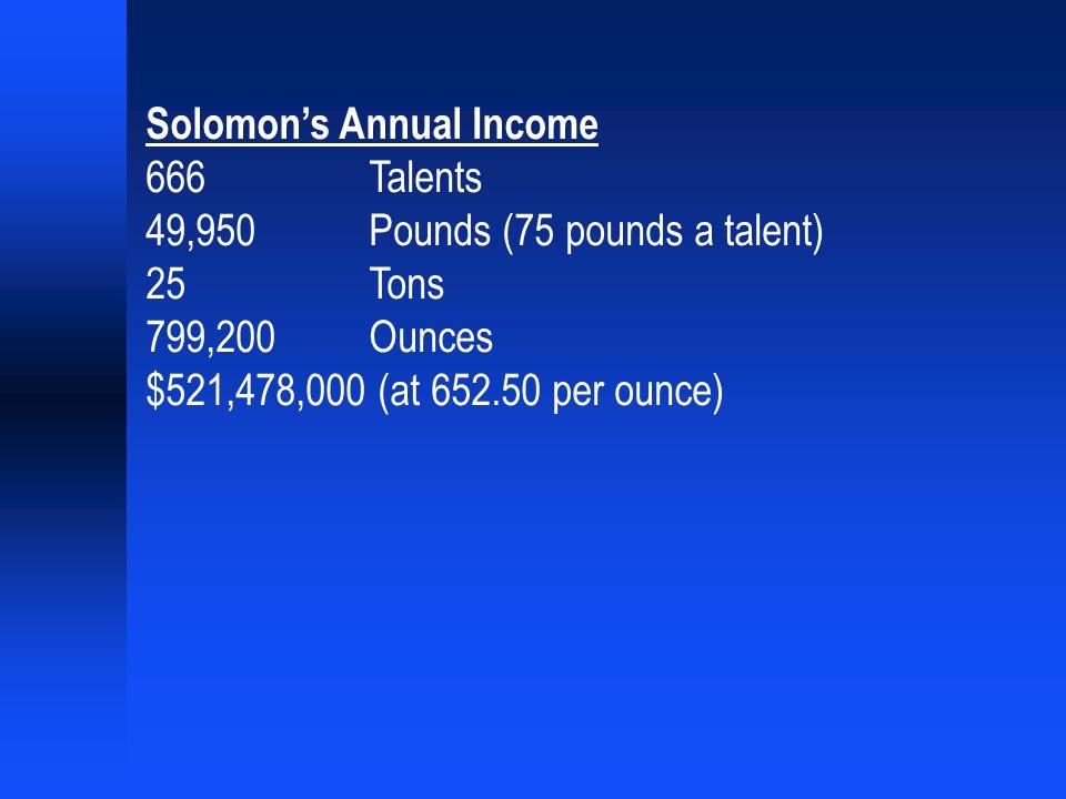Solomon's Annual Income 666 Talents 49,950 Pounds (75 pounds a talent) 25 Tons 799,200 Ounces $521,478,000 (at 652.50 per ounce)
